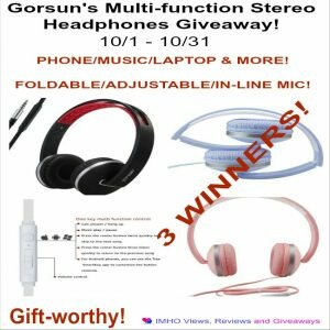 Gorsun's Multi-function Stereo Headphones Giveaway ends 10-31