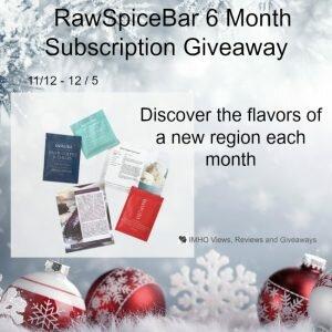 RawSpiceBar 6 Month Subscription Giveaway ends 12/5 #RawSpiceBar