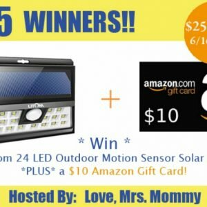 Litom LED Outdoor Motion Sensor Solar Light + $10 Amazon Gift Card Father's Day Giveaway http://www.hintsandtipsblog.com