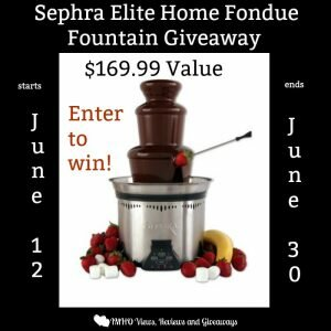 Sephra Elite Home Fondue Fountain Giveaway ends 6/30